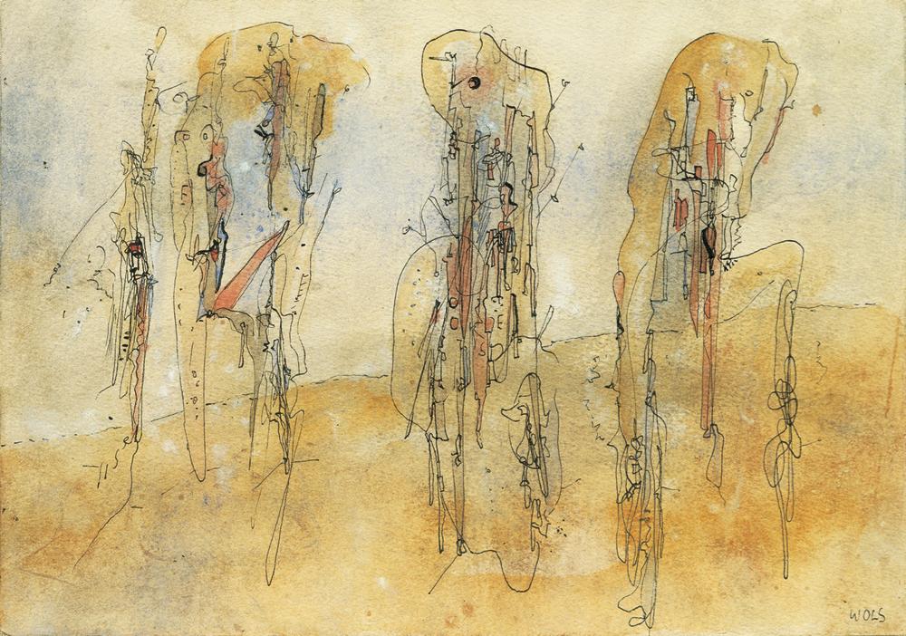 """ヴォルス《無題》 1942/43年 グアッシュ、インク、紙 14.0×20.0cm DIC川村記念美術館 WOLS """"Untitled"""" 1942/43 gouache and ink on paper 14.0×20.0cm Kawamura Memorial DIC Museum of Art"""