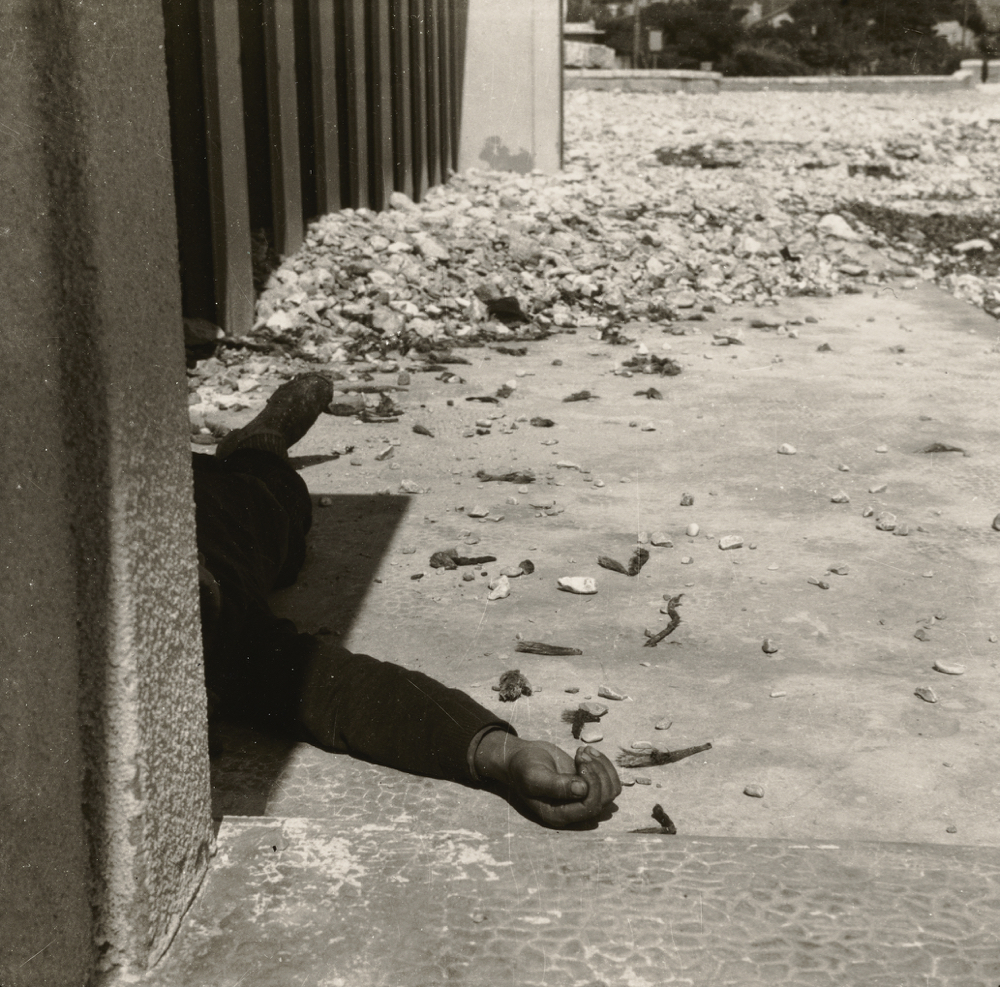 Gebaudewinkel mit Abfall, Clochard; Wols (French, born Germany, 1913 - 1951), Georg Heusch; Cassis, France; negative: 1940 - 1941; print: 1976; Gelatin silver print; 16.3 × 17 cm (6 7/16 × 6 11/16 in.); 84.XM.140.159