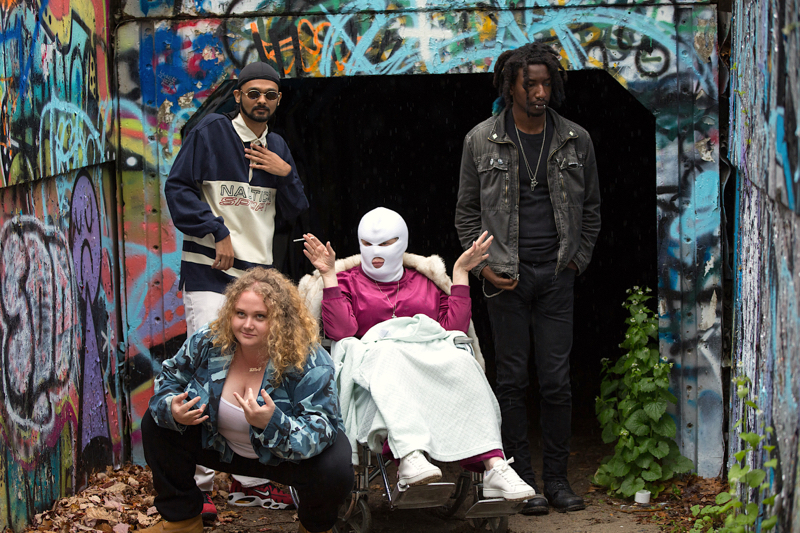 (From L-R): Danielle Macdonald, Siddharth Dhananjay, Cathy Moriarty and Mamoudou Athie in the film PATTI CAKE$. Photo courtesy of Jeong Park. © 2017 Twentieth Century Fox Film Corporation All Rights Reserved